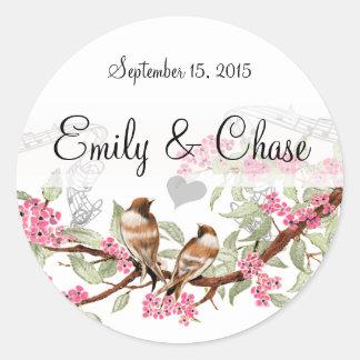 Pink & Gray Vintage Love Birds Wedding Stickers