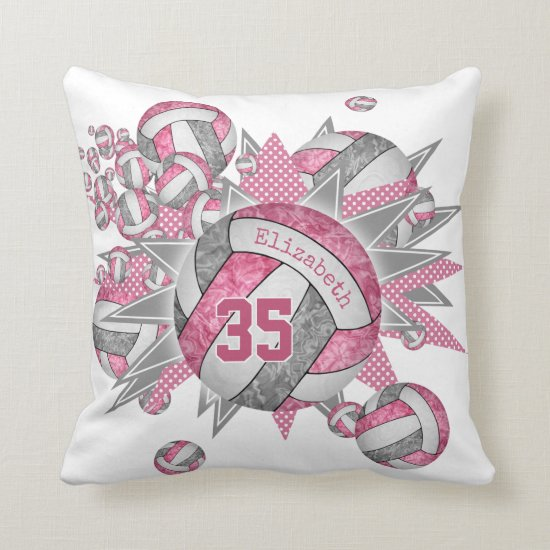 pink gray volleyball blowout girls sports decor throw pillow