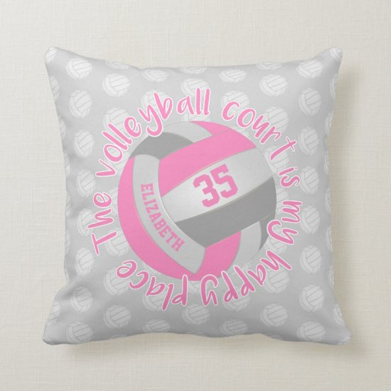 pink gray volleyball court my happy place throw pillow