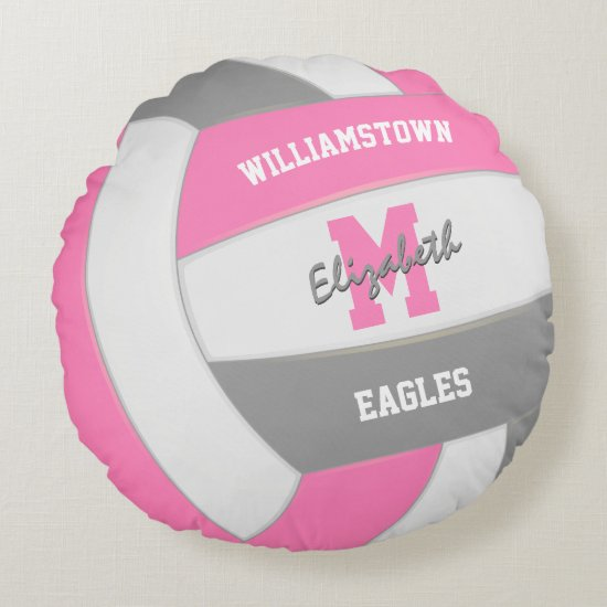 pink gray volleyball girls sports room decor round pillow