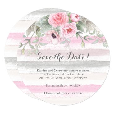 Beach Themed Pink Gray Watercolor Floral Stripes Save the Date Card