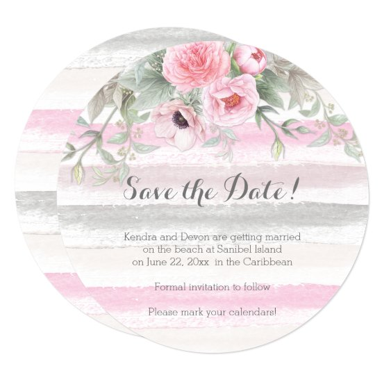 Pink Gray Watercolor Floral Stripes Save the Date Invitation