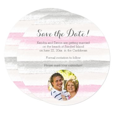 Beach Themed Pink Gray Watercolor Stripes Photo Save the Date Card