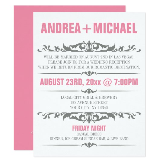 pink gray wedding reception only invitations zazzle com