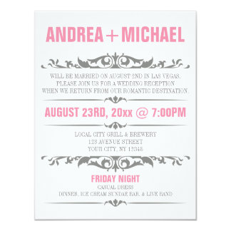 Pink & Gray Wedding Reception ONLY Invitations