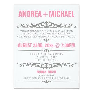 "Pink & Gray Wedding Reception ONLY Invitations 4.25"" X 5.5"" Invitation Card"
