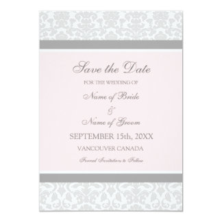 Pink Gray Wedding Save the Date Card Custom Invite