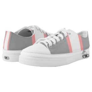 Pink Gray White Bold Stripes Printed Shoes