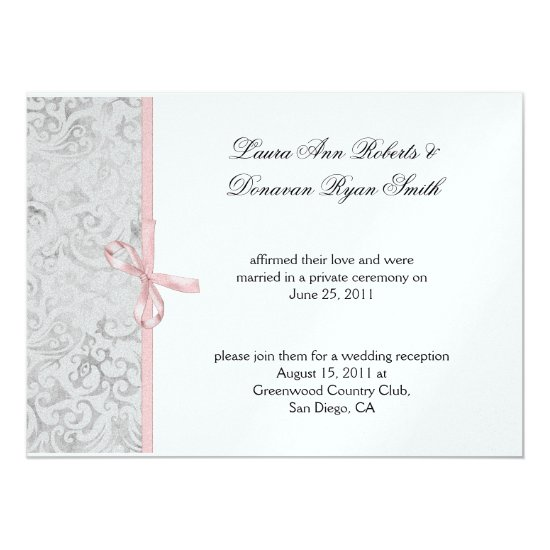 Pink Gray White Damask Post Wedding Invitation