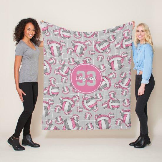 pink gray white girls volleyball w net detail fleece blanket