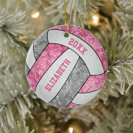 pink gray white girly sporty volleyball ceramic ornament