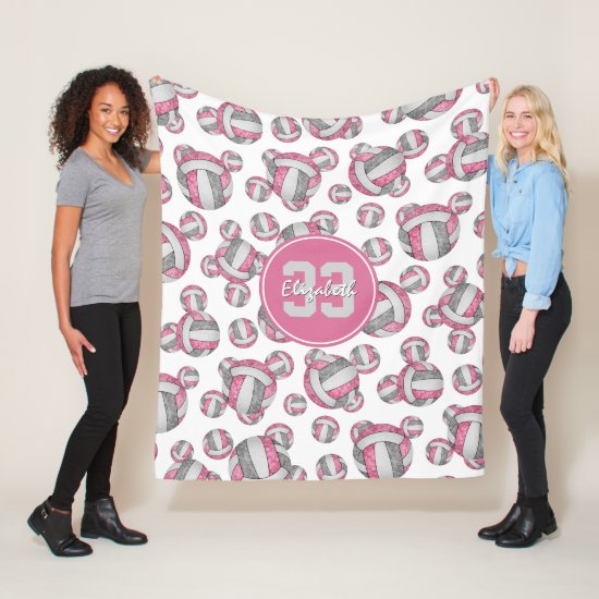 pink gray white girly volleyball pattern fleece blanket