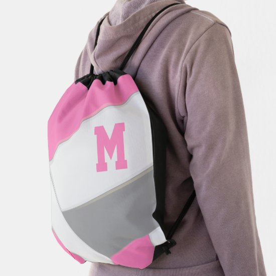 pink gray white monogrammed girl's volleyball drawstring bag