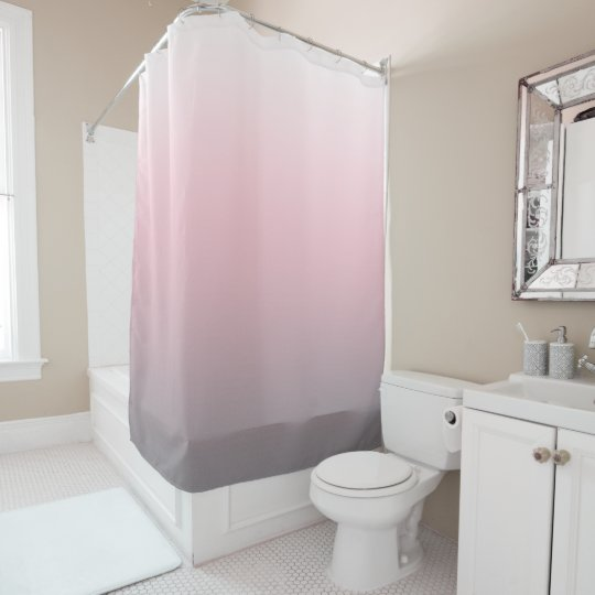 Pink Gray White Ombre Shower Curtain