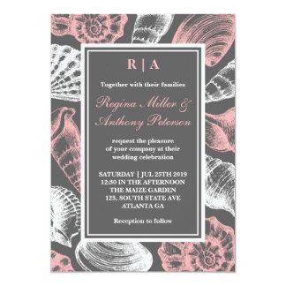 Pink Gray White Seashells Beach Wedding Invitation