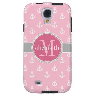 Pink Gray White Ship Anchors Monogram Galaxy S4 Case
