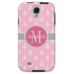 Pink Gray White Ship Anchors Monogram Galaxy S4 Case