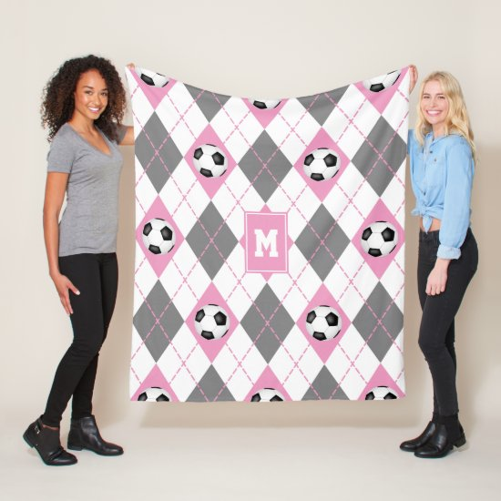 pink gray white soccer argyle pattern fleece blanket