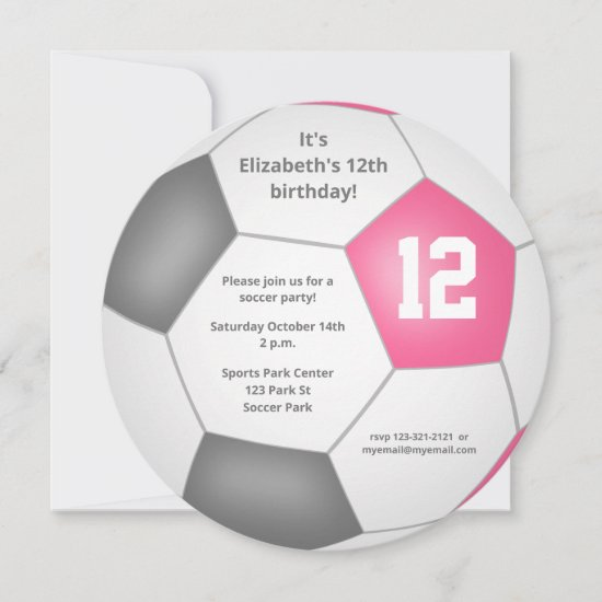 pink gray white soccer themed birthday party announcement