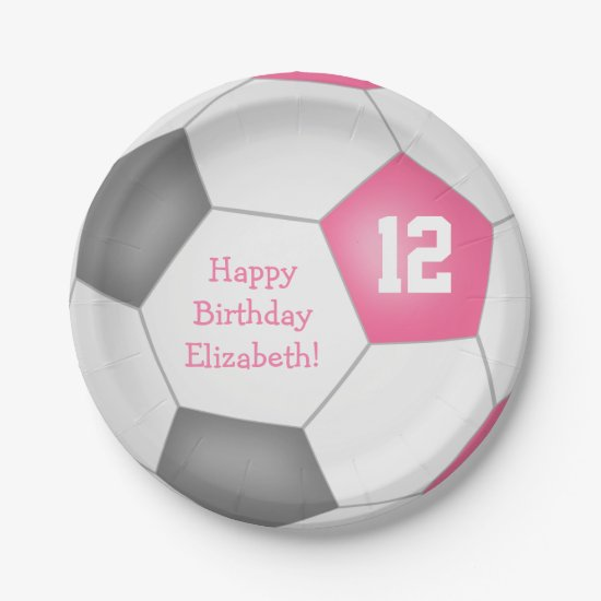 pink gray white soccer themed birthday party paper plate