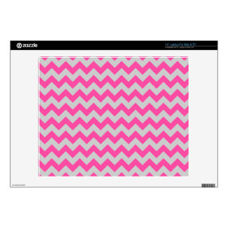 "Pink Gray Zigzag Chevron Pattern Girly Decal For 14"" Laptop"