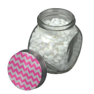 Pink Gray Zigzag Chevron Pattern Girly Glass Jars