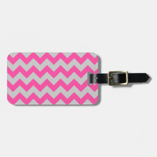 Pink Gray Zigzag Chevron Pattern Girly Tag For Luggage