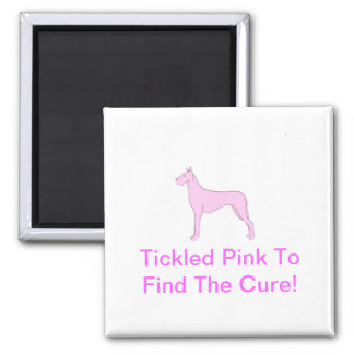 Pink Great Dane 2 Inch Square Magnet