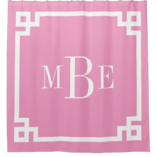 Pink Greek Key Border Monogram Shower Curtain