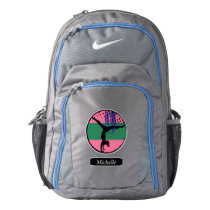 Pink Green Abstract Art Gymnast Personalized Backpack