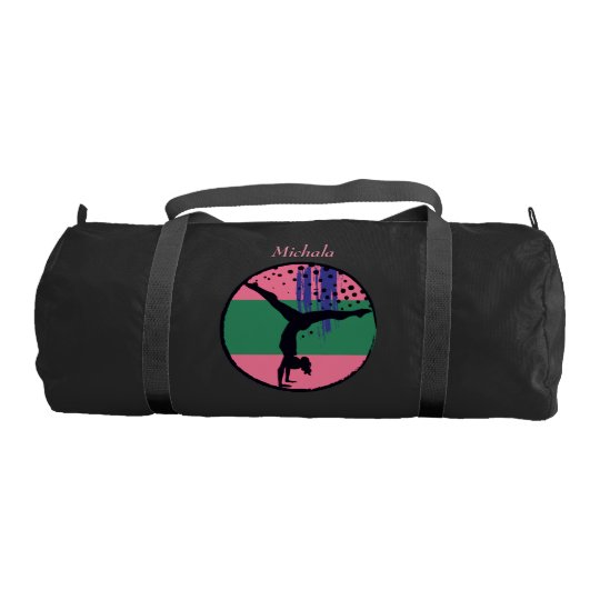 d7dec8a3cd53 Pink Green Abstract Art Gymnast Personalized Duffle Bag