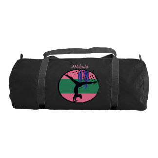Pink Green Abstract Art Gymnast Personalized Gym Duffle Bag