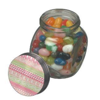 Pink Green Abstract Aztec Tribal Print Pattern Jelly Belly Candy Jar