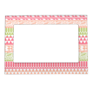 Pink Green Abstract Aztec Tribal Print Pattern Magnetic Picture Frames