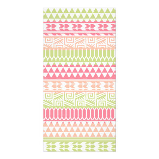 Pink Green Abstract Aztec Tribal Print Pattern Picture Card