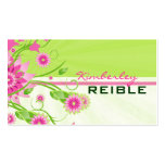 Pink & Green Abstract Floral Design 3 Business Card Template