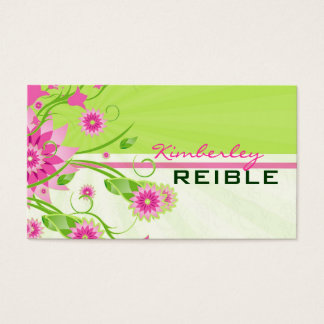 Pink & Green Abstract Floral Design 3 Business Card