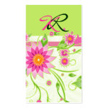 Pink & Green Abstract Floral Design 4 Business Card Templates