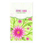 Pink & Green Abstract Floral Design Business Card Templates