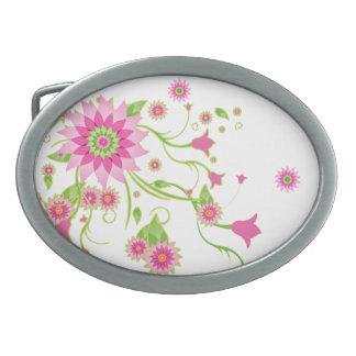 Pink & Green Abstract Floral Design-Light Oval Belt Buckle