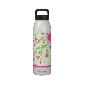 Pink & Green Abstract Floral Design-Monogram Reusable Water Bottle
