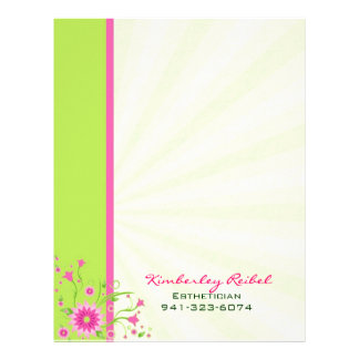 Pink & Green Abstract Floral Design-Stripes Customized Letterhead