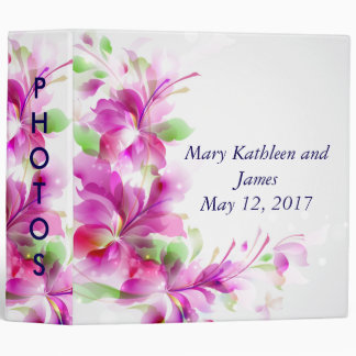 Pink & Green Abstract Floral Wedding Photo Album Binders