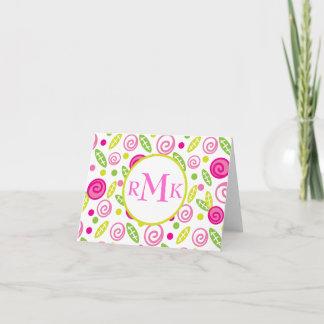 Pink & Green Abstract Flowers Monogram Notecard