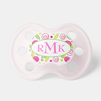 Pink & Green Abstract Flowers Monogram Pacifier BooginHead Pacifier
