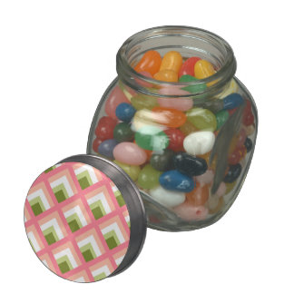 Pink Green Abstract Geometric Designs Color Jelly Belly Candy Jar