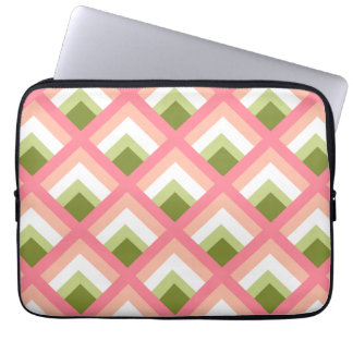 Pink Green Abstract Geometric Designs Color Computer Sleeve
