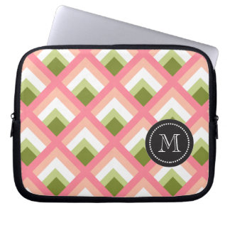 Pink Green Abstract Geometric Designs Color Laptop Computer Sleeves