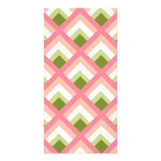 Pink Green Abstract Geometric Designs Color Photo Greeting Card