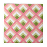 Pink Green Abstract Geometric Designs Color Tile